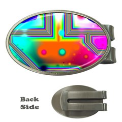 Crossroads Of Awakening, Abstract Rainbow Doorway  Money Clip (oval)