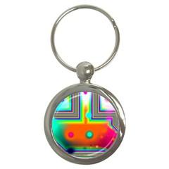 Crossroads Of Awakening, Abstract Rainbow Doorway  Key Chain (round)