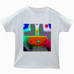Crossroads Of Awakening, Abstract Rainbow Doorway  Kids T-shirt (White)