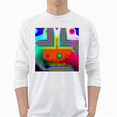 Crossroads Of Awakening, Abstract Rainbow Doorway  Men s Long Sleeve T-shirt (White)