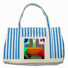 Crossroads Of Awakening, Abstract Rainbow Doorway  Blue Striped Tote Bag