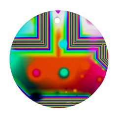 Crossroads Of Awakening, Abstract Rainbow Doorway  Round Ornament (Two Sides)