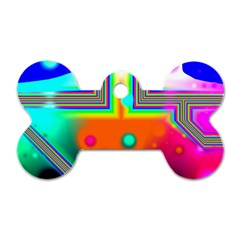 Crossroads Of Awakening, Abstract Rainbow Doorway  Dog Tag Bone (two Sided)