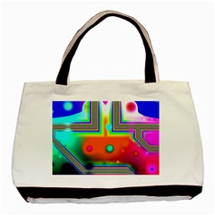 Crossroads Of Awakening, Abstract Rainbow Doorway  Twin Sided Black Tote Bag