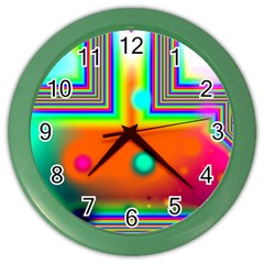 Crossroads Of Awakening, Abstract Rainbow Doorway  Wall Clock (Color)