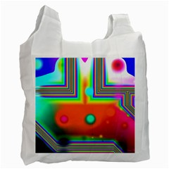 Crossroads Of Awakening, Abstract Rainbow Doorway  White Reusable Bag (Two Sides)
