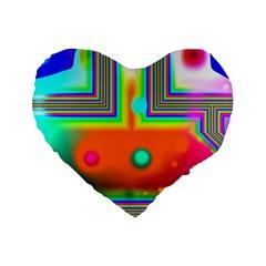 Crossroads Of Awakening, Abstract Rainbow Doorway  16  Premium Heart Shape Cushion