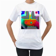Crossroads Of Awakening, Abstract Rainbow Doorway  Women s T Shirt (white)