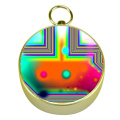 Crossroads Of Awakening, Abstract Rainbow Doorway  Gold Compass