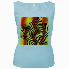 Colored Zebra Women s Tank Top (Baby Blue)