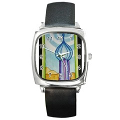 Air Square Leather Watch