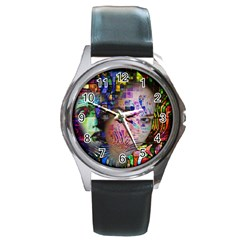 Artistic Confusion Of Brain Fog Round Leather Watch (silver Rim)
