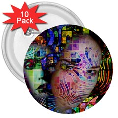 Artistic Confusion Of Brain Fog 3  Button (10 Pack)