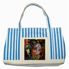 Artistic Confusion Of Brain Fog Blue Striped Tote Bag