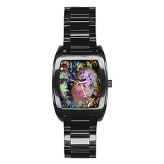 Artistic Confusion Of Brain Fog Stainless Steel Barrel Watch
