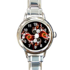 Mysterious Dance In Orange, Gold, White In Joy Round Italian Charm Watch