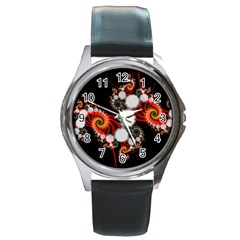 Mysterious Dance In Orange, Gold, White In Joy Round Leather Watch (silver Rim)