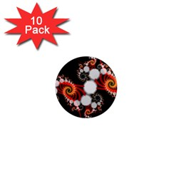 Mysterious Dance In Orange, Gold, White In Joy 1  Mini Button Magnet (10 Pack)