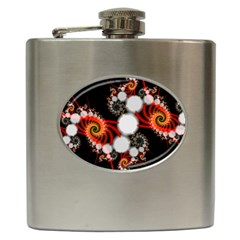Mysterious Dance In Orange, Gold, White In Joy Hip Flask