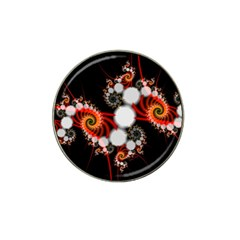 Mysterious Dance In Orange, Gold, White In Joy Golf Ball Marker 4 Pack (for Hat Clip)
