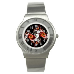 Mysterious Dance In Orange, Gold, White In Joy Stainless Steel Watch (Slim)