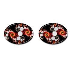 Mysterious Dance In Orange, Gold, White In Joy Cufflinks (oval)