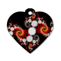 Mysterious Dance In Orange, Gold, White In Joy Dog Tag Heart (one Sided)
