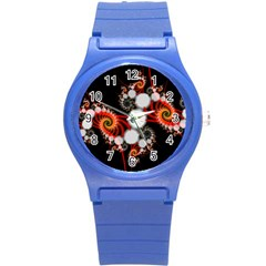 Mysterious Dance In Orange, Gold, White In Joy Plastic Sport Watch (small)