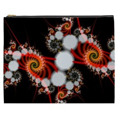 Mysterious Dance In Orange, Gold, White In Joy Cosmetic Bag (xxxl)