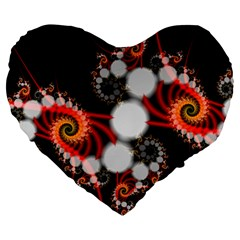 Mysterious Dance In Orange, Gold, White In Joy 19  Premium Heart Shape Cushion