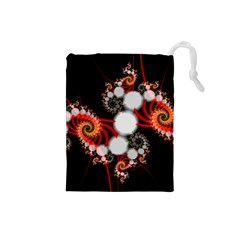 Mysterious Dance In Orange, Gold, White In Joy Drawstring Pouch (Small)