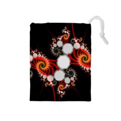 Mysterious Dance In Orange, Gold, White In Joy Drawstring Pouch (Medium)