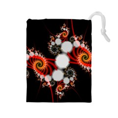Mysterious Dance In Orange, Gold, White In Joy Drawstring Pouch (Large)