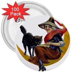 Vintage Halloween Witch 3  Button (100 pack)