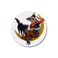 Vintage Halloween Witch Drink Coasters 4 Pack (Round)