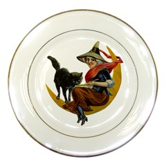 Vintage Halloween Witch Porcelain Display Plate