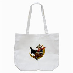 Vintage Halloween Witch Tote Bag (White)