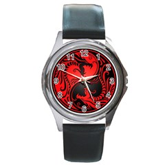 Yin Yang Dragons Red And Black Round Leather Watch (silver Rim)