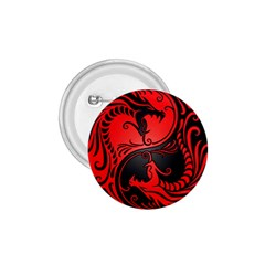Yin Yang Dragons Red and Black 1.75  Button