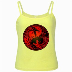 Yin Yang Dragons Red and Black Yellow Spaghetti Tank