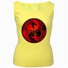 Yin Yang Dragons Red and Black Women s Tank Top (Yellow)