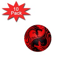 Yin Yang Dragons Red and Black 1  Mini Button Magnet (10 pack)