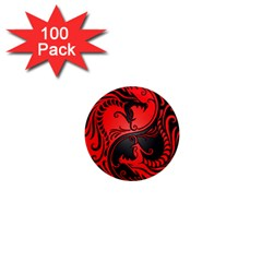 Yin Yang Dragons Red And Black 1  Mini Button Magnet (100 Pack)