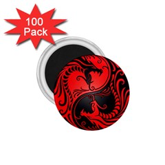 Yin Yang Dragons Red and Black 1.75  Button Magnet (100 pack)
