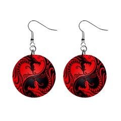 Yin Yang Dragons Red And Black Mini Button Earrings