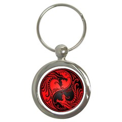Yin Yang Dragons Red And Black Key Chain (round)