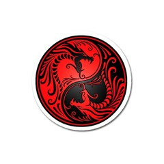Yin Yang Dragons Red and Black Magnet 3  (Round)