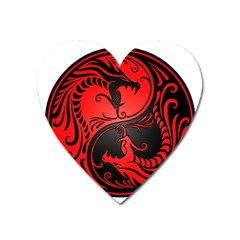 Yin Yang Dragons Red And Black Magnet (heart)