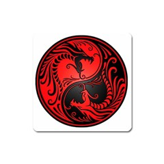 Yin Yang Dragons Red and Black Magnet (Square)