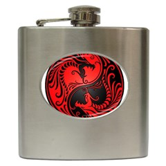 Yin Yang Dragons Red and Black Hip Flask